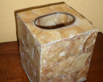 Square Tissue Box/CAPIZ SHELLS/GOLD //Vintage