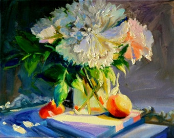 Art Print ,WATERFORD NAARTJIES, chrysanthemums, gift, oil on canvas,orange and green, impressionistic art