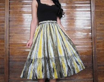 Vtg 50s Novelty Print Skirt
