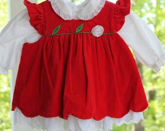 Vintage red velvet jumper and white eyelet under dress size 6 to 9 months