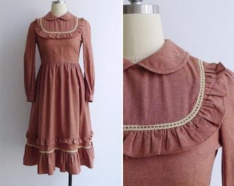 Vintage 70's Ruffled Bib Tea Rose Pink Prairie Dress XS or S