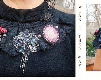 Vintage Black Lace Bib Necklace or Cuff Bracelet w/ 4 Removable Vintage Brooch Pendants. SEVEN  Ways to Wear.Your Choice!  7 One of a Kind.