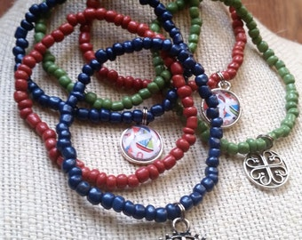 Nautical Jewelry, Cabochon Charms, Tibetan Charms, Multilayer Bracelet, Stretch Bracelet, Seed Bead Bracelet, Gifts for Teen Girls