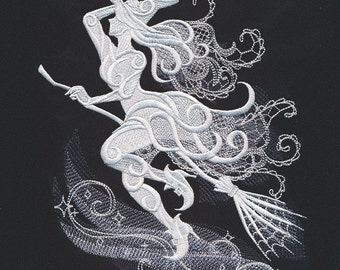 Ghost Witch on Black Dishtowel