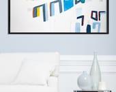 Large Abstract Painting PRINT, Geometric art, 28X40 large wall art, Giclee Print, mid century modern art, Blue grey, Acrylic painting
