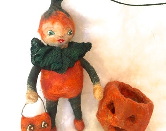 Halloween spun cotton boy in a pumpkin suit a OOAK vintage craft ornament by jejeMae