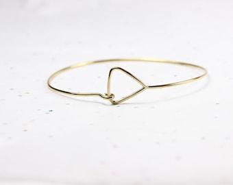 Minimalist Arrow Bangle - Small Geometric Triangle Bracelet - Jeweler's Brass or Silver - Thin Delicate Bangle