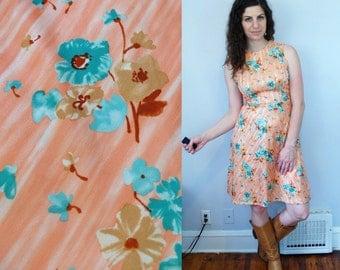 1970s Vintage Sleeveless Peachy Pink & Green Floral Flower Print Pattern Dress / A Line Fit and Flare Chevron Striped Midi Dress / Medium M