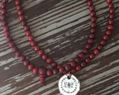 108 Bead Rosewood Prayer Mala & White Lotus Wax Seal Charm - Yoga / Buddhist Jewelry  - Wooden Beaded Necklace - 7th Anniversary Copper Gift