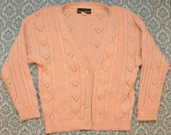 Vintage 80s Chunky Knit Pastel Cardigan Pink Peachy MADE IN USA