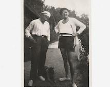 Dapper Gentlemen - Berets - Vintage Photo - Swim Trunks - Dog - Snapshot - Found Original Photo