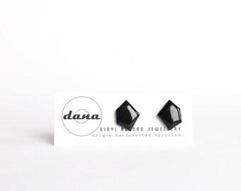 geometric studs black studs minimalist jewelry resin post earrings upcycled jewelry vinyl record ear studs everyday stud earrings gift idea