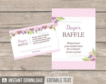 Diaper Raffle Tickets and Sign - Floral Baby Shower - Girl Pink Stripes Flowers - INSTANT DOWNLOAD - Printable PDF with Editable Text