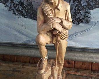 Black Forest Wood Carving Hiker Climber with Rope