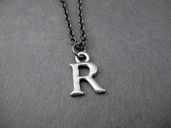 INITIAL Necklace - Personalized Pewter Initial Necklace on Gunmetal chain - Initial Jewelry - Alphabet Necklace - Mom Necklace - Grandmom