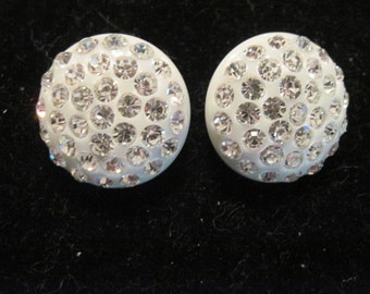 Vintage Rhinestone White Lucite Clip On Earrings