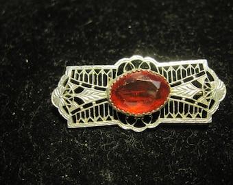 Vintage Red Art Deco Silver Metal Filigree Brooch