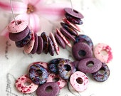 Beads mix in Pink, Purple, Violet, greek Ceramic Cornflake beads, donut, for leather cord, washer, 10mm - 30pc - 2762