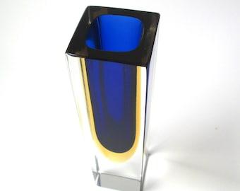 Antique Cobalt Blue Gold Vase, Modern, Art Glass, vintage blue bud vase, solid glass, mid-centuy modern