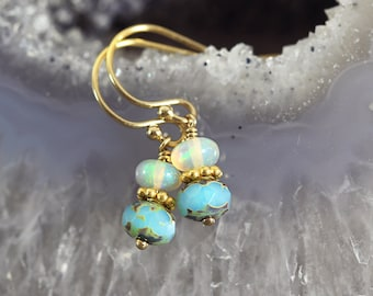 Ethiopian Opal Earrings - Iridescent Earrings - October Birthstone Earrings - Opal Jewelry - Gemstone Drop Earrings