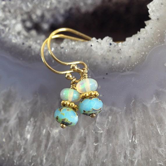 Ethiopian Opal Earrings - Opal Jewellery