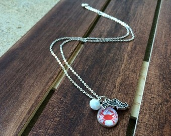 Crab Silhouette and Maryland State Charm Necklace