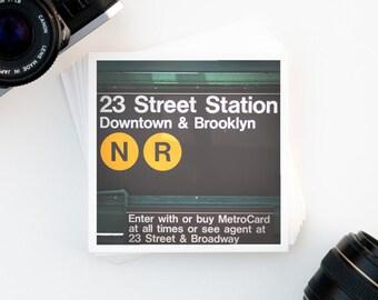 New York City Decor, NYC Art Print, New York Subway Sign, Affordable Wall Art, Green Home Decor, Square Art Print, Gallery Wall, City Print
