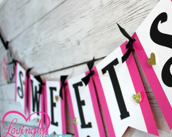 Sweets Banner in Hot Pink, Black & White Stripes and Glitter Gold - Dessert Table, Candy Table, Bridal Shower, Birthday, Baby Shower
