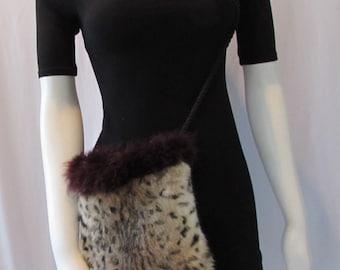 vintage Shoulder Bag Fur Feathers Satin inside High Fashion Boho retro Natural brown green Bag Purse Costume