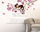 PEEL and STICK Removable Vinyl Wall Sticker Mural Decal Art - Monkey and Cherry Blossom Flowers, Monkey Wall Sticker, Monkey Wall Decor
