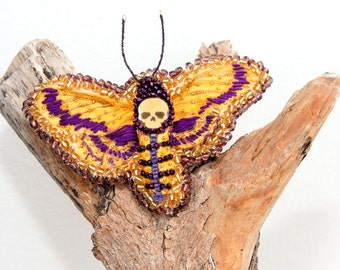 Brooch Death Head Moth Purple Yellow // Butterfly Fabric Bead Insect // Nature lover // Gift Geek Girl Art Fiber Entomology Pin whimsical