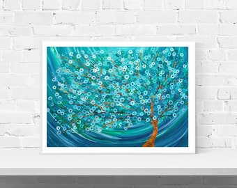 Teal Tree Art Print - 'winter Morning Tree' - Wall Art Print Of Original Abstract Tree Painting In Teal, Turquoise, Silver, & White