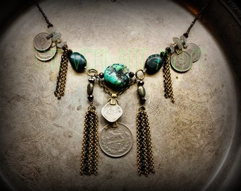 Chunky Tribal Turquoise Necklace with Brass Chain Tassels and Kuchi Coins