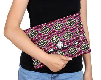 Statement Piece  Clutch With Embroidered Pattern Fabric (BG306DW-122C8)