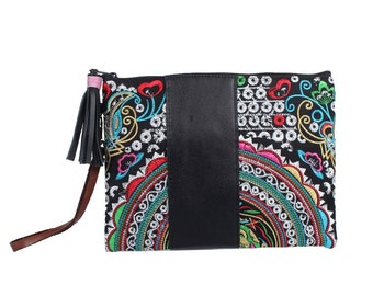 Handmade Clutch Embroidered Fabric With Leather Strip  (BG5602.56)