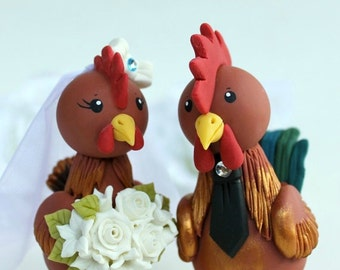 "Rooster and hen wedding cake topper, customizable bride and groom, bigger figurines more than 5"" tall"
