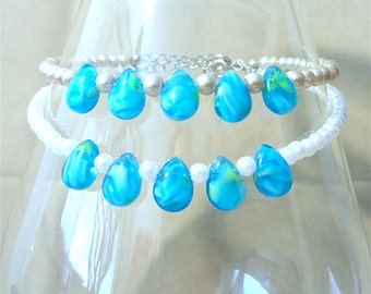 Turquoise Swirl Teardrops & Pearls Anklet, Ankle Bracelet, Handmade Beaded Jewelry, Summer Simple Pearl Wedding Jewelry, Turquoise Anklet