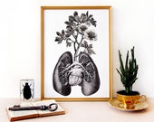 LUNGS and BRANCHES art print- anatomical lungs diagram with branches and flowers growing - original illustration collage - engravings