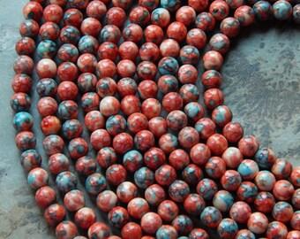6.5mm Terracotta Orange, Turquoise & White Rain-flower (Ocean White Jade) Polished Round Gemstone Beads, 15 Inch Strand (INDOC947)
