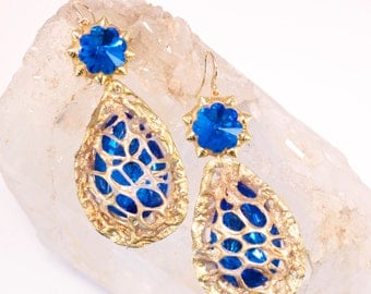 RADICAL! Statement Earrings Bright Blue Mesh-wrapped One of a Kind Wearable Art by Pauletta Brooks