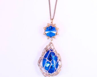 RADICAL!  Bright Blue Mesh-wrapped Pendant-One of a Kind Wearable Art by Pauletta Brooks