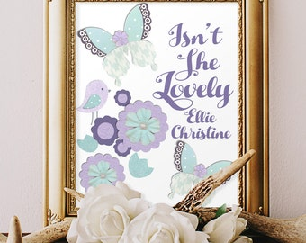PURPLE TEAL NURSERY, butterfly decor, Brooklyn bedding, aqua lavender room, Isn't She Lovely, girls personalized wall art, butterflies 8x10