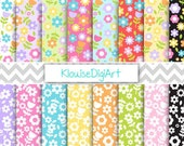 Purple, Pink, Yellow, Blue and Green Spring Mother's Day Flowers Printable Digital Paper Pack for Personal and Small Commercial Use (0028)