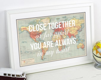 Long Distance Love, Quote, World Map Print, Poster, Map of the World, Valentines Day, Personalised Print, Map Print, Distance Relationship