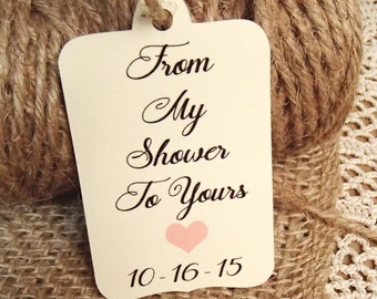 Bridal Shower, Favour Tags, From My Shower To Yours, Shower, Favor Tags, Gift Tags, SMALL, Heart, Pink, Handwritten, Custom, Shower tags