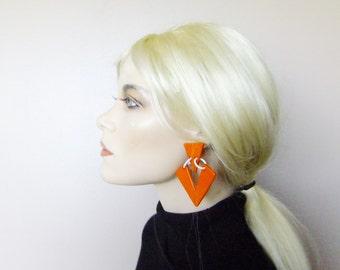 80s orange earrings, oversized earrings, vintage 80s earrings, costume jewelry
