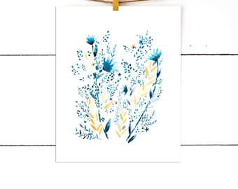 Flower Watercolor Print, Gift For Her, Blue Artwork, Floral Print Art, Watercolor Flowers, Watercolor Art, Gifts Under 25, Gifts Under 15