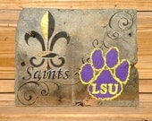 Saints LSU Handpainted on New Orleans Recycled Roofing Slate