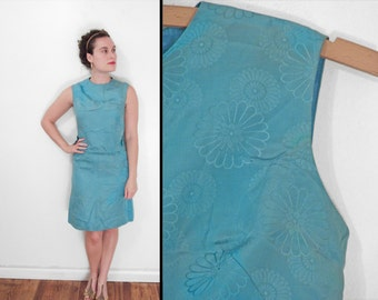 1960s Two Piece Dress Set Aqua Blue Mod Daisy Print Sleeveless Side Bows Size Small