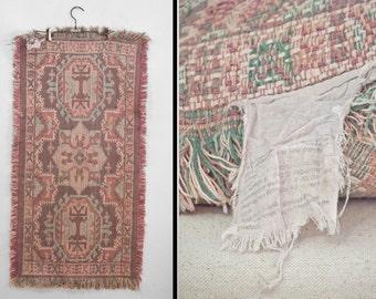 "PASTEL Area Rug 90s Mauve Pink Sage Green Fringe Small Carpet 19"" x 37"""